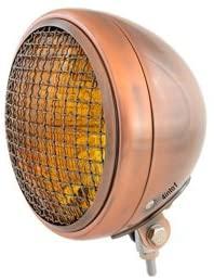 7 Bottom Mount Headlight w/Grill Motorcycle Custom Spotlight - Black Amber