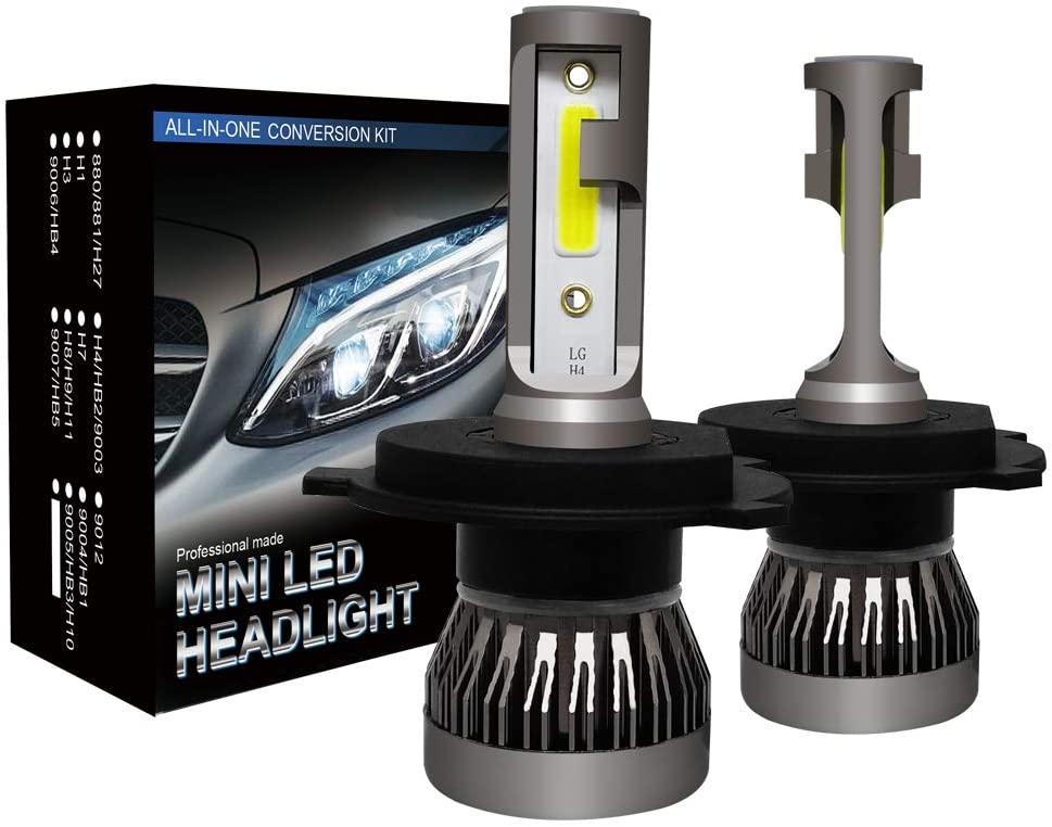 LED Headlight Bulbs, 60W 10000 Lumens Super Bright LED Headlights Conversion Kit Cool White IP68 Waterproof, Pack of 2(H4/HB2/9003)
