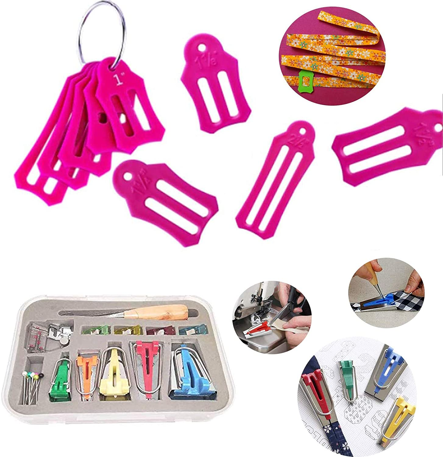 YICBOR Bias Tape Maker Kits All 5 Sizes 6MM 9MM 12MM 18MM 25MM Binding Foot Craft Clips Awl Quilter's Pin Comes with 10pcs Multi-Sizes Folding Fabric and Biasing Strips Roll Tool Set (Pink)