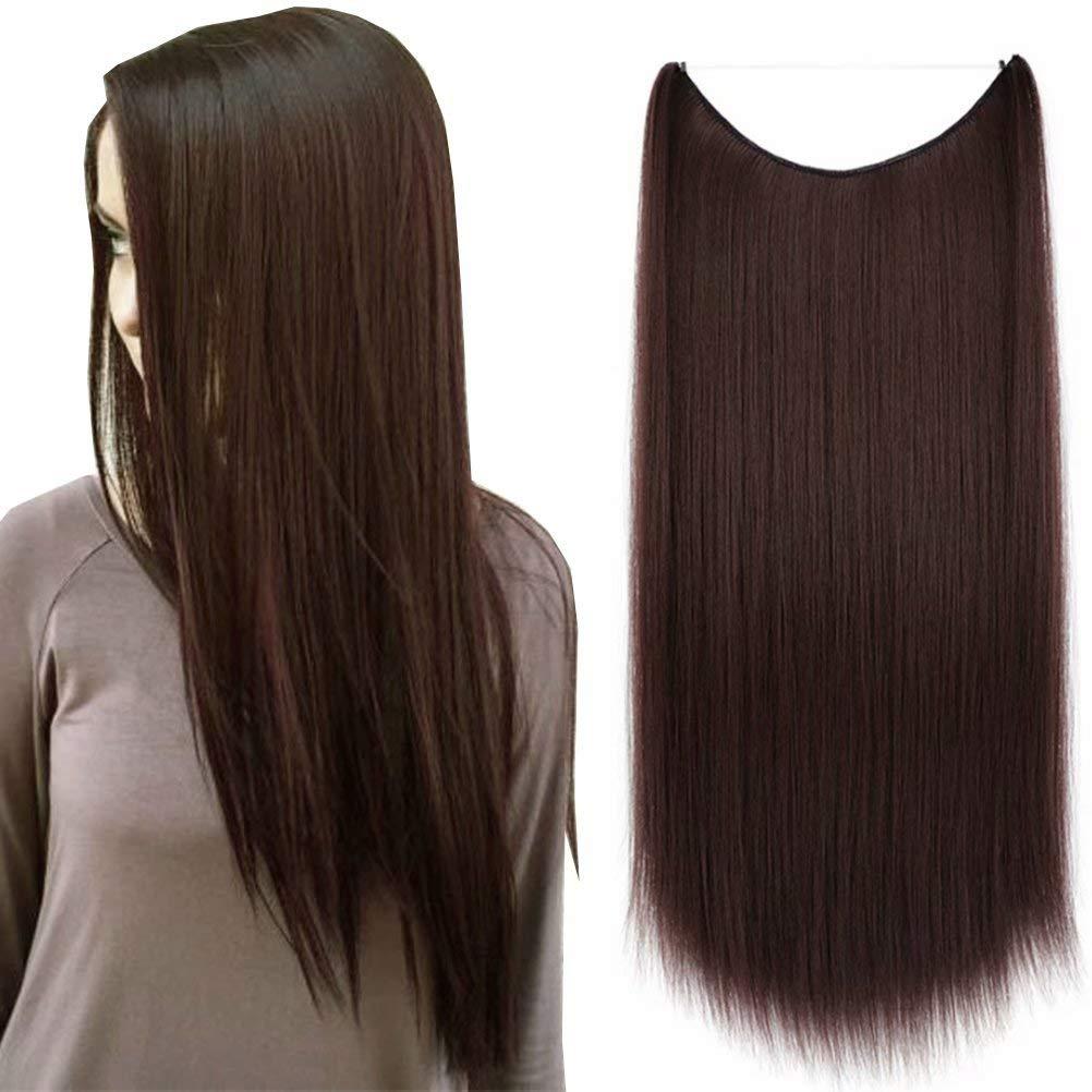 iLUU 22inch Synthetic Hair Fish Line Extensions #33J Dark Auburn Brown Hair Extensions Halo Silky Straight Natural Hair 80gram/set Temperature Heat Resistent Fiber Flip in Halo Hair Extensions