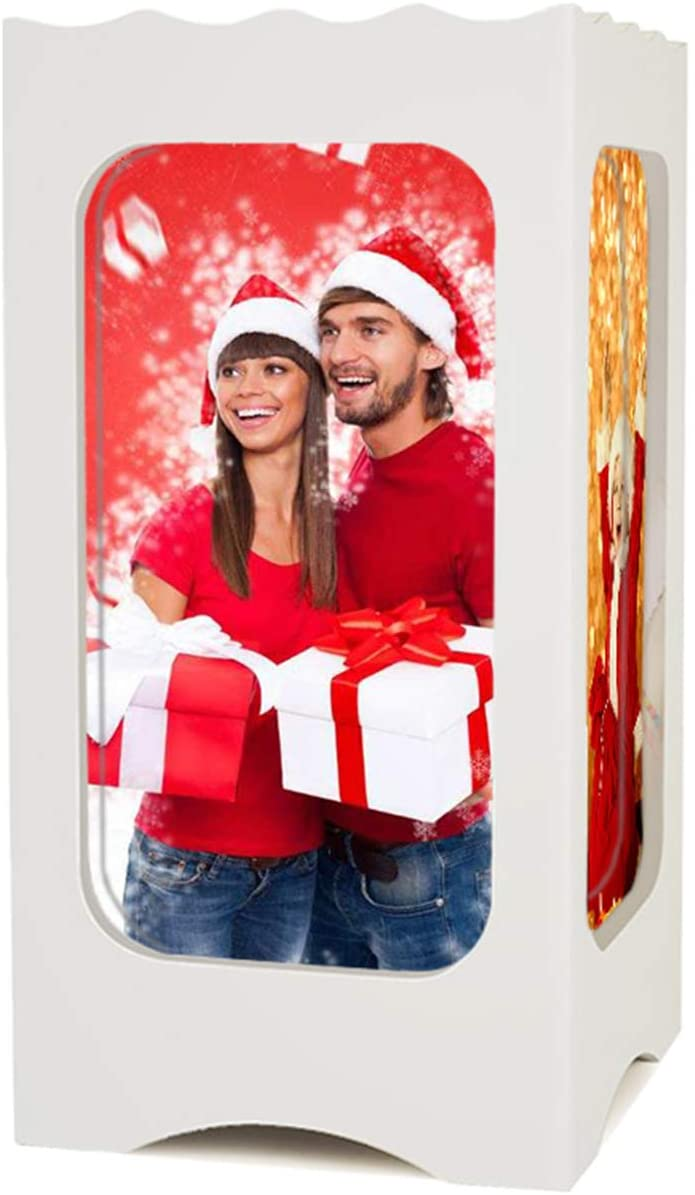 Customized Photo Light Personalized 16 Color Lamp Bluetooth Music Light Engraving 4 Picture Light Christmas/Anniversary for Women(White)