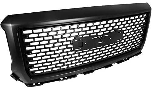 Carpartsinnovate For 14-15 GMC Sierra 1500 Glossy Black Mesh Upper Front Bumper Hood Grill Grille