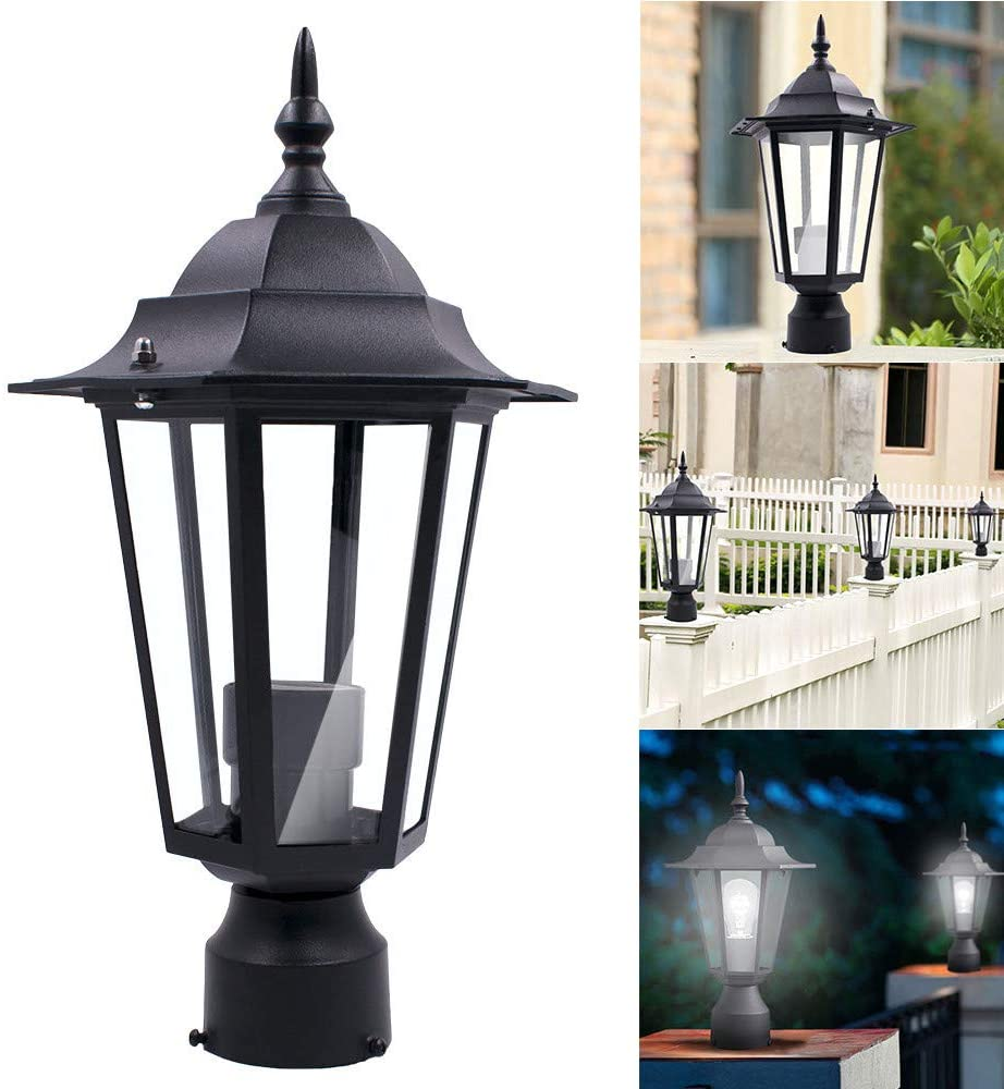 Lemoning Post Pole Light Outdoor Garden Patio Driveway Yard Lantern Lamp Fixture Black