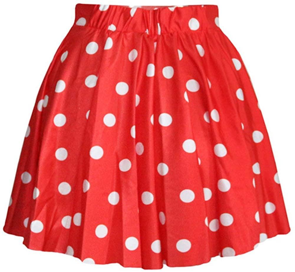 AvaCostume Women's High Waisted Candy Colors Polka Dot Skirt