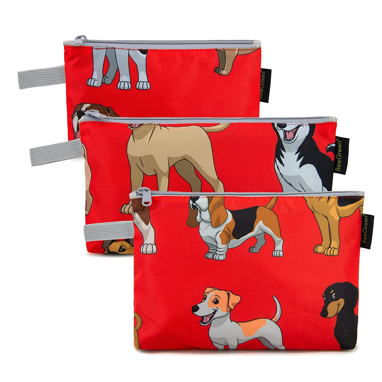 Red Cosmetic Bags Bulk 3 Pack Lightweight Sturdy Toiletries Travel Zipper Storage Pouch Various Size Nylon Animal Travel Accessories with Zip Makeup Organizer for Trip Hiking Cute Dog Pattern