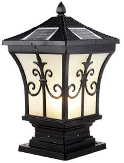 Berlato Solar Outdoor Waterproof European E27 Post Lamp Garden Villa Door Column Lamp Adjustable Light Super Bright Pillar Light with Remote Control (Large,Black)
