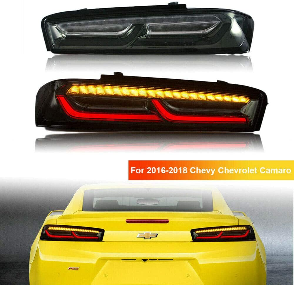MOSTPLUS LED Tail Lights Compatible for 2016 2017 2018 Chevrolet Camaro Chevy 6th Gen Rear Lamps w/Sequential Turn Light (Smoke Tinted)
