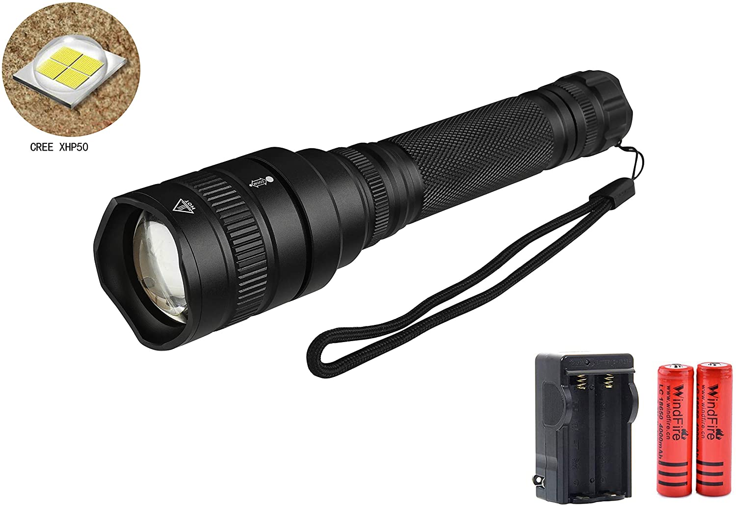 LED Flashlight Rechargeable Tactical Flashlight, 2500 Lumens 5 Modes Water Resistant Handheld Outdoor Camping Flashlight with Batteries & Charger