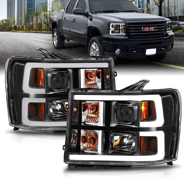 AmeriLite for 2007-2014 GMC Sierra 1500 2500 3500 Dual C-Type LED Tube Quad Projector Black Headlight Assembly Set - Passenger and Driver Side