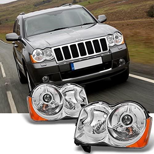 For [Chrome] 2008 2009 2010 Jeep Grand Cherokee Halogen Type Projector Headlight Headlamps LH + RH Pair
