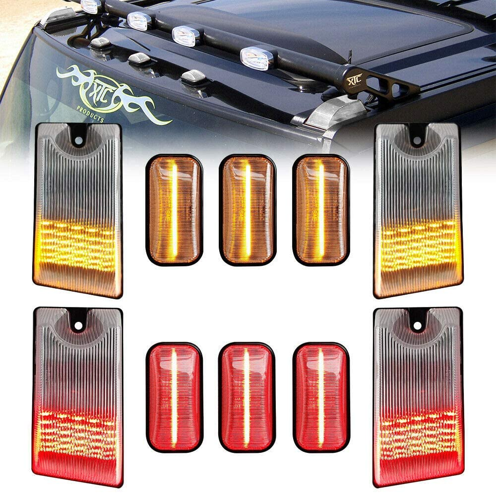 Full LED Cab Roof Marker Light Kit For 2003-2009 Hummer H2 2005-2009 Hummer H2 SUT Clearance Marker Top Lamp Replacement OEM Hummer Roof Lamps