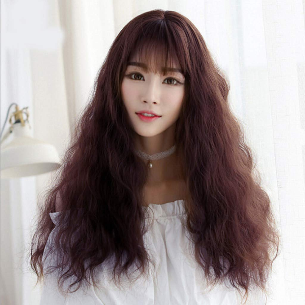 27.6in Fashion Gradient Coffee Japanese Female Long Curly Air Bangs Wig,Soft & Smooth Natural Synthetic Hair,Glueless Loose Deep Wavy Hairstyle for Costume Party Daily Use Women Girl (Coffee)