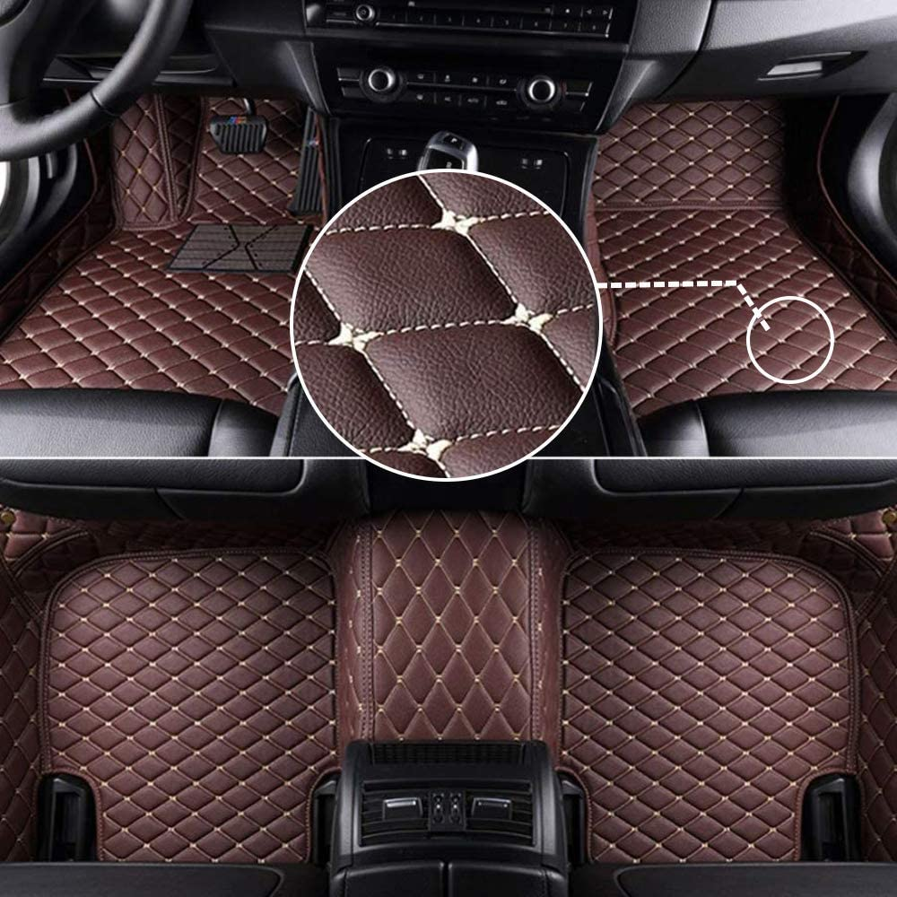 MyGone Car Floor Mats for Infiniti Q50 2014-2019 2015 2016 2017 2018, Leather Floor Liners - Custom Fit Waterproof Comfort Soft, Front Rear Row Full Set Coffee