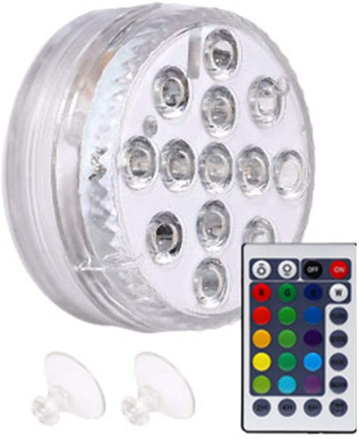 Underwater LED Lamp, Suction Cup Pond Pool LED Light, Color Changing Submersible Bathtub Lights, with Remote Control, for Vase Base, Fish Tank, Pond, Pool, Garden