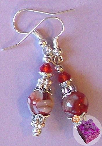 Orange White Pearl Crystal Earring Sp Handcrafted Rhinestone Earrings for Women Set + Gift Box for Free