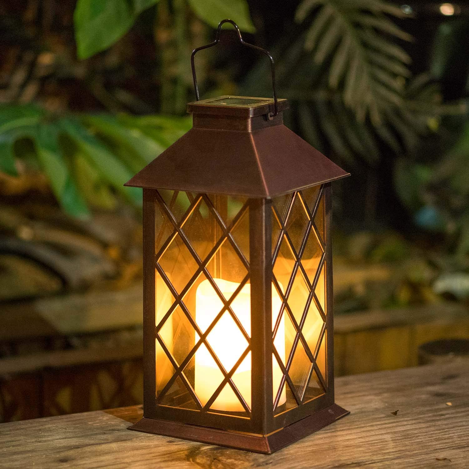 Homeimpro Solar Lantern Hanging Garden Outdoor Lights Flickering Flameless Candle Waterproof LED Lamp for Table Patio Lawn (Bronze)
