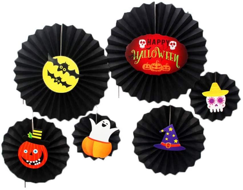 HEALLILY 1 Set Halloween Paper Fan Suit Hanging Paper Fans Ghost Pumpkin Witch Hat Shape Party Decoration