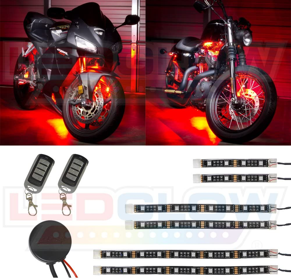 LEDGlow 6pc Advanced Red LED Motorcycle Accent Neon Underglow Lighting Kit - 4 Patterns - 4 Brightness Levels - Flexible Light Strips - Includes Waterproof Control Box & 2 Wireless Remotes