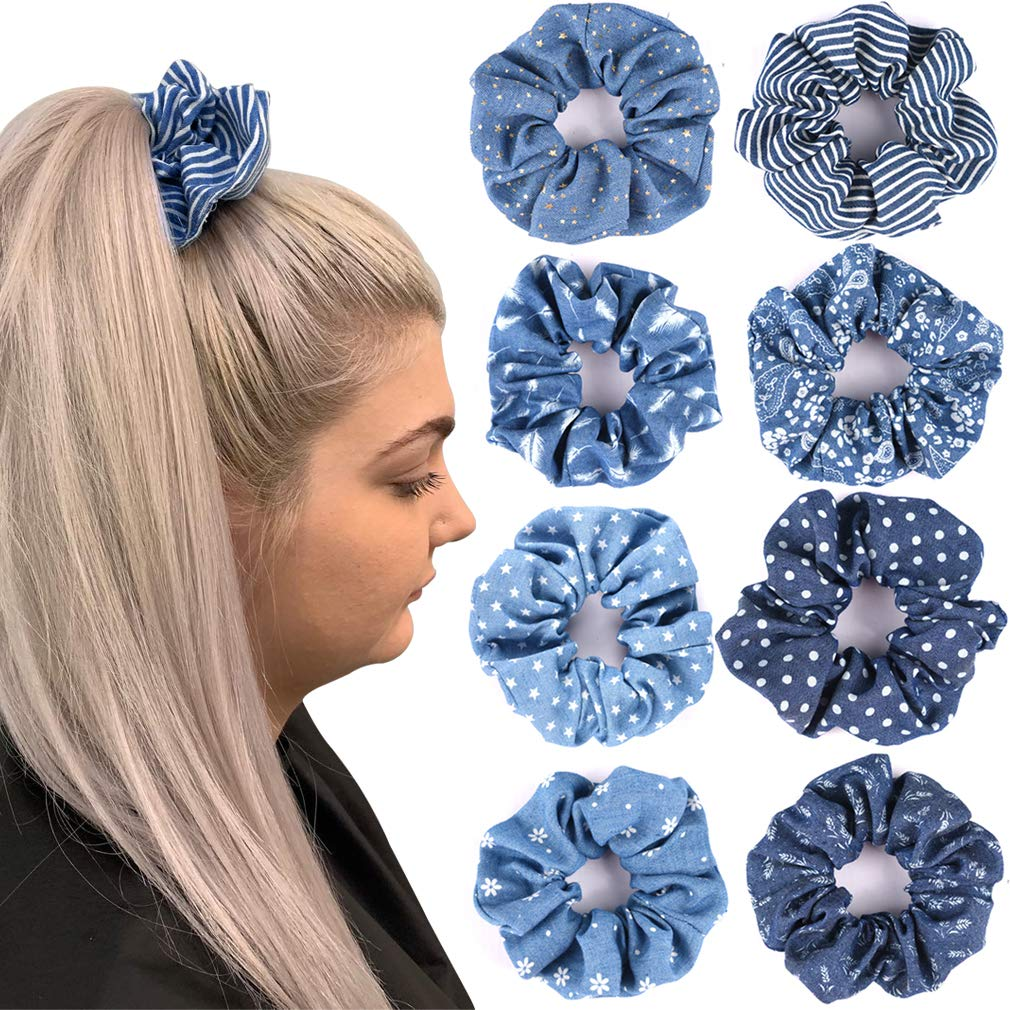 Hair Scrunchies Denim 90's Ties Elastic Hair Bands Ropes Scrunchy Soft for Ponytails Top Knots Braids and Buns Women Girls Hair Accessories Pack of 8