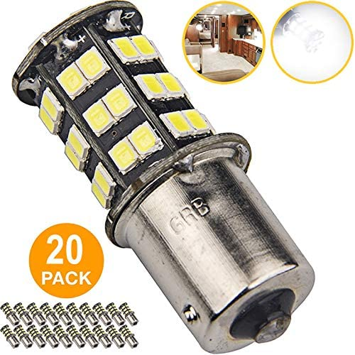 Super Bright 1156 1141 1003 7506 BA15S LED Bulbs 45-SMD 12V RV Camper Trailer Boat Trunk Interior Lights(White 6000K Color Temperature, 20-Packs)