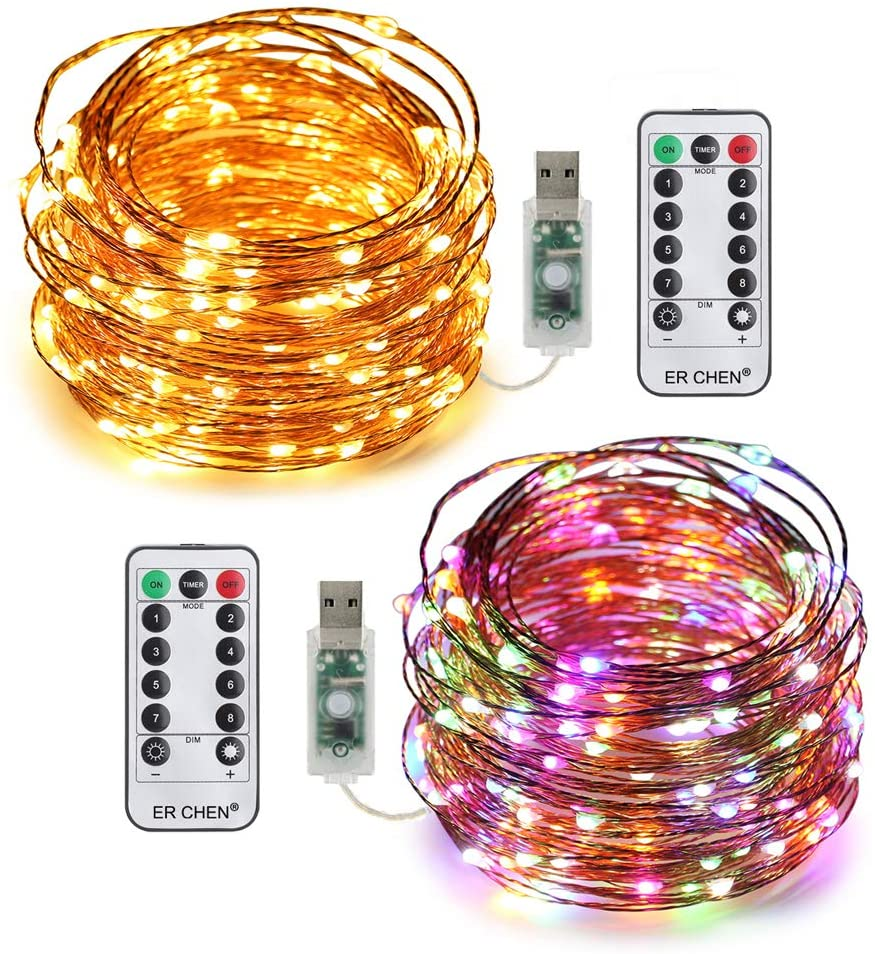 ER CHEN 2 Pack USB String Lights, 33ft 100 LED Warm White & Multi-Color Changing Fairy Lights with Remote&Timer, 8 Modes Dimmable Copper Wire Lights for Bedroom, Patio, Festival, Party