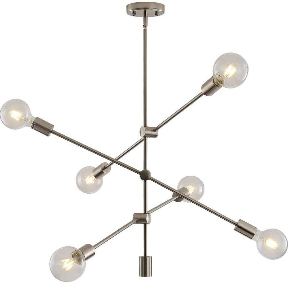 Berlato Modern Sputnik Chandelier 6 Light Brushed Nickel Semi Flush Mount Ceiling Lighting Contemporary Industrial Ceiling Fixture for Kitchen Living Room Dining Room Bed Room Hallway (A,Silver)