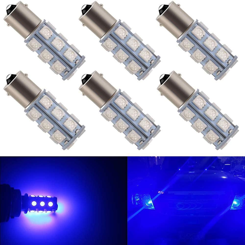 DophiSall Auto 6-Pack DC12V Blue Color 1156 BA15S 1141 1073 7506 Bulb RV Camper SUV MPV Car LED Replacement Turn Signal Bulb Brake Light Bulb Backup Light Lamp