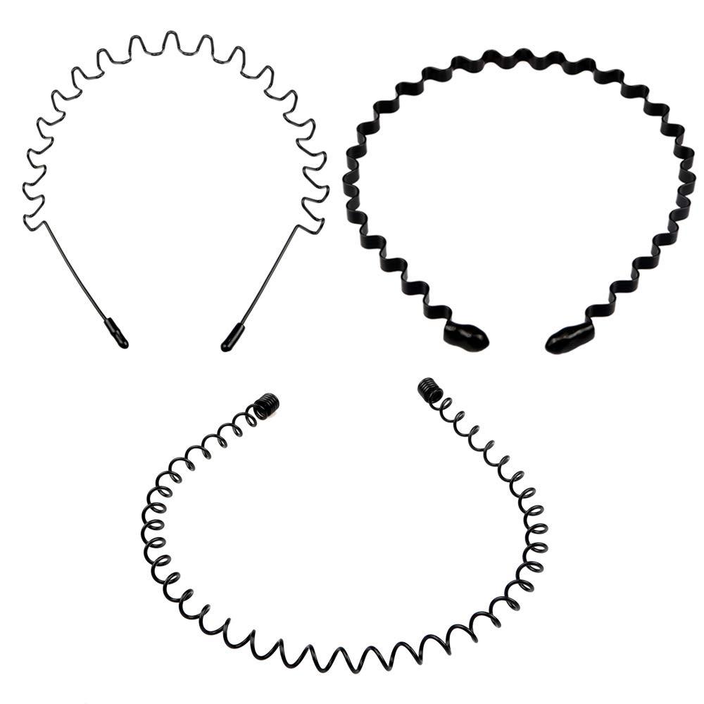3 Pieces Metal Headbands Unisex Black Wavy Spring Sports Hairband Non-Slip Metal Hair Band Hoop Elastic Hair Accessories for Women Men(2)