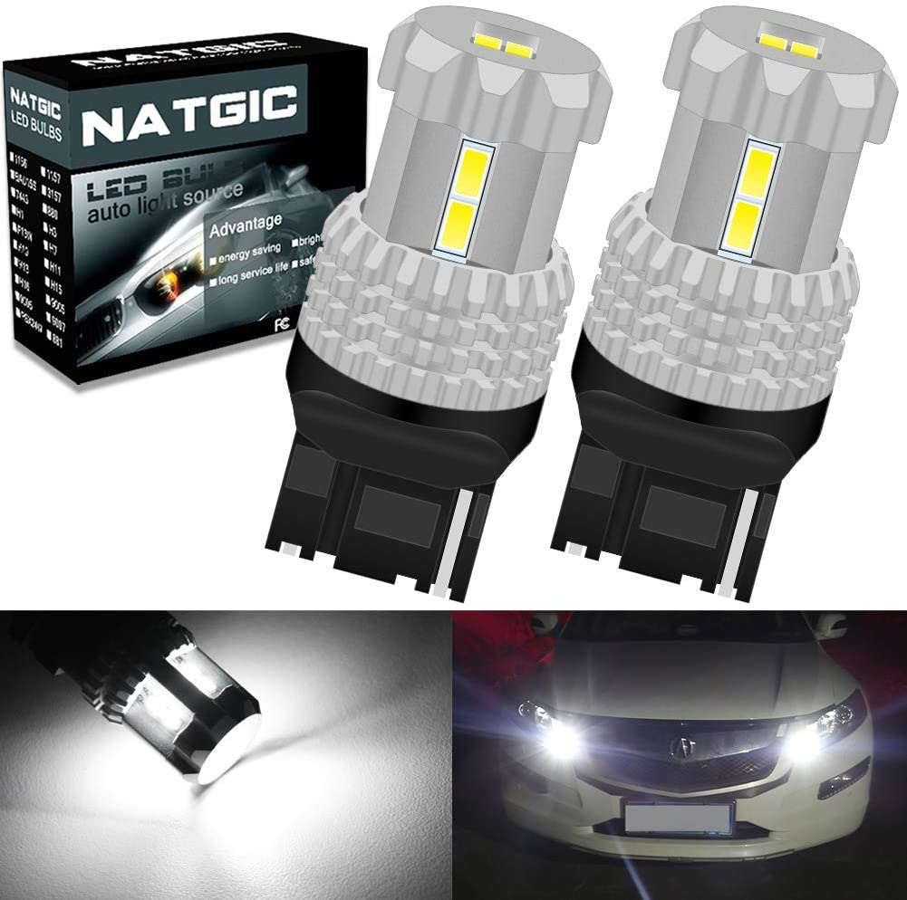 NATGIC 7440 7441 7440NA 992 T20 Led Bulbs Extremely Bright 3020-12SMD Chipsets for Backup Reverse Lights, Tail Lights, Brake Lights, Turn Signal Lights, 12V, White (Pack of 2)