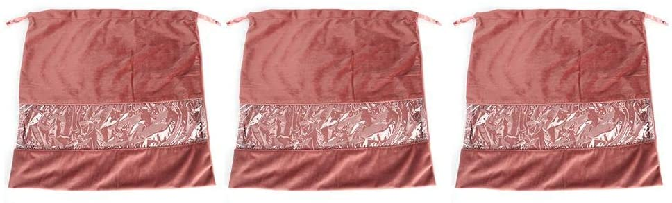 3Pcs Dustproof Velvet Storage Bag, Drawstring Bag for Clothes Makeup Shoes Outdoor Travelling, with Drawstring Design, Exquisite Workmanship, Small Size, Easy to Carry.(4039brown)