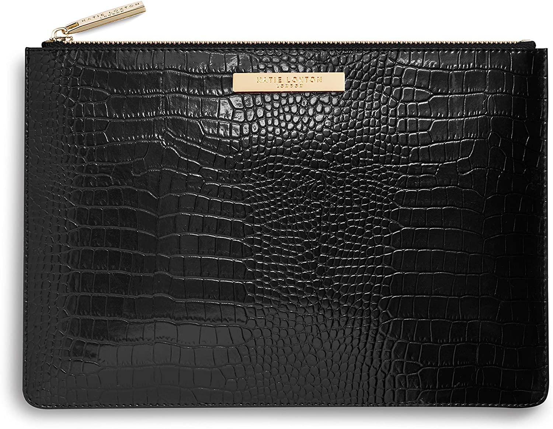 Katie Loxton Celine Faux Croc Vegan Leather Large Fashion Pouch Clutch Bag Black