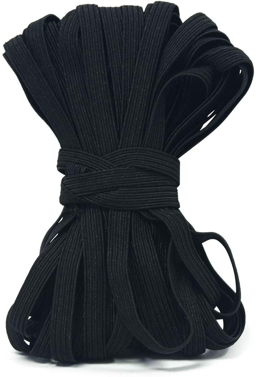 Black 1/4 Inch Width Braided Elastic Band Elastic String Cord Heavy Stretch High Elasticity Knit Elastic Band for Sewing Craft DIY (40 Yards)