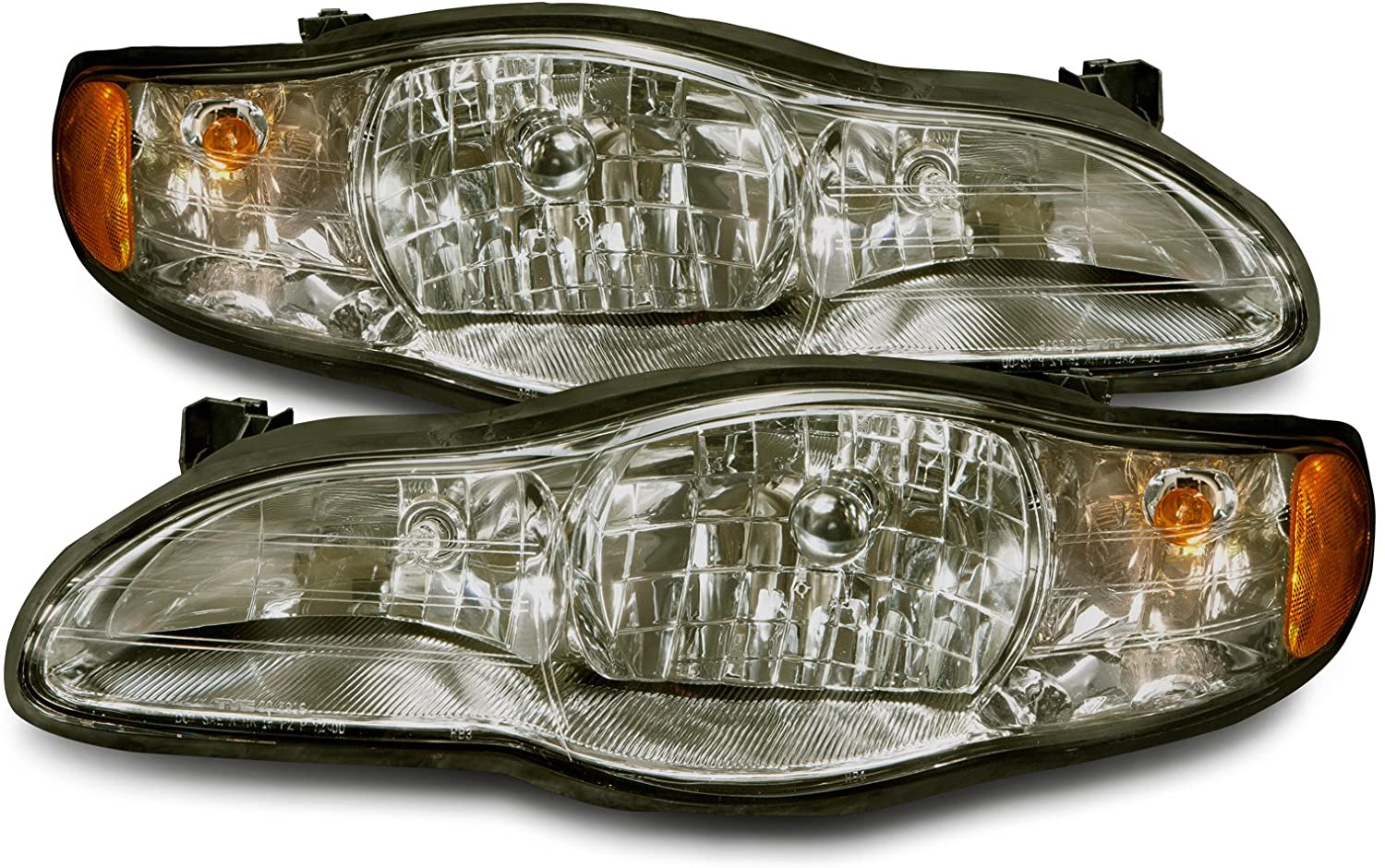 PERDE Compatible with Chevy Monte Carlo Chrome Headlamps With Performance Lens Headlights Pair Driver Passenger Set