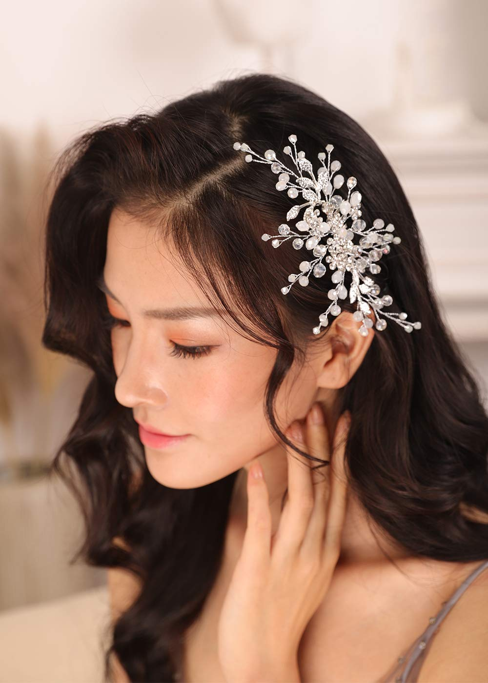 Kercisbeauty Boho Ivory Beads Side Hair Combs for Women and Girls Wedding Crystal Boho Side Headpiece Flower Hair Dress