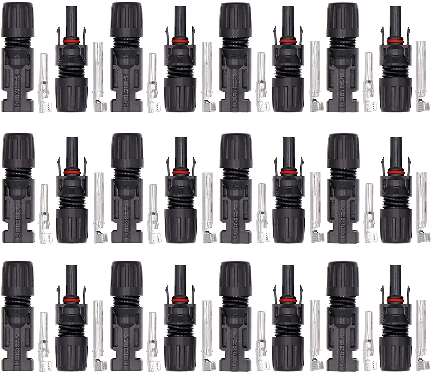 Ruikarhop 12 Pair Solar Connectors Solar Panel Cable Connectors MC-4 Male/Female IP67 Solar Connectors