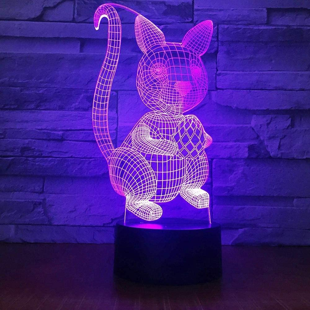 dferh 3D Night Light Squirrel Carry Nuts 3D Lamp 7 Color Remote Touch Switch Led Night Light Led Visual Gift Desktop Desk Lamp Kids Room Night Light
