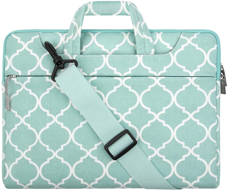 MOSISO Laptop Shoulder Bag Canvas Carrying Briefcase Sleeve Case Quatrefoil MO-QAF004