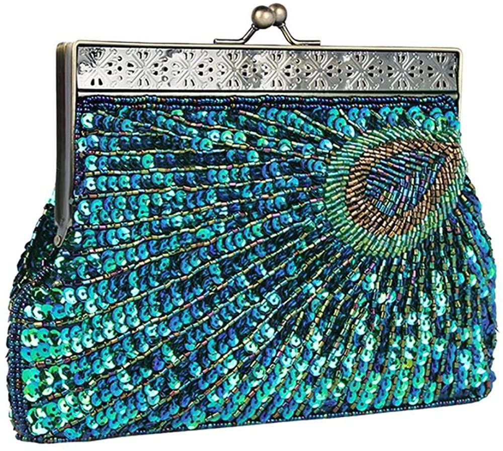 Womens Sequin Beaded Evening Bag Antique Peacock Evening Wedding Clutch Purse Evening Handbag for Wedding Party Cocktail