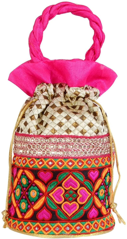 Indian women's potli Bag Handbag Traditional Drawstring Batwa Bridal Clutch