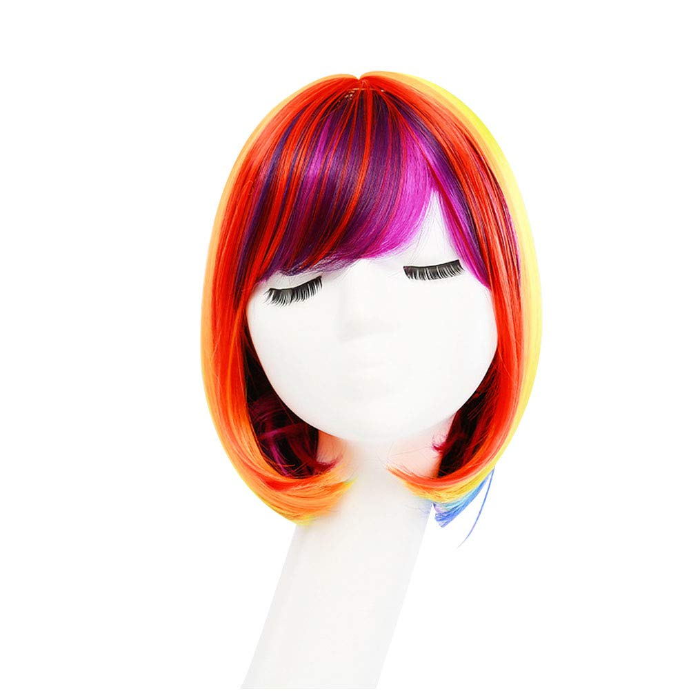 Frcolor Short Bob Hair Wig, Women Straight Rainbow Cosplay Party Hair Wig Colorful Wig for Halloween Fancy Dress