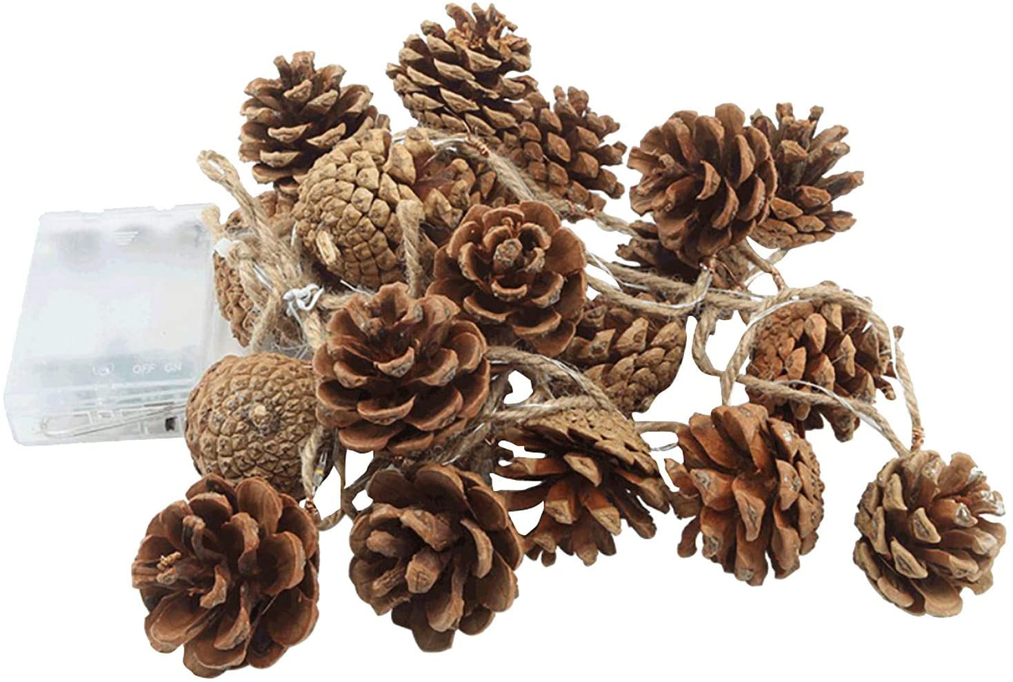 Copercn Merry Christmas Photo Clip LED String Light with Clips Christmas Pine Cone Lamp String Pine Needle Copper Wire Lamp Handmade Decoration Lamp for Hanging Picture Party Wedding Decor