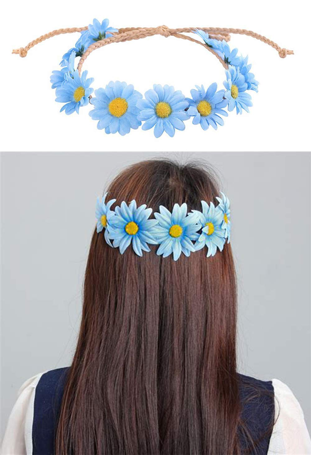 Little Daisy Flower Headband, Flower Halo,Hippie Flower Crown,Boho Floral Wreath,Bridal Headpiece,Sunflower Wreath for Women and Girls,Performances, Parties,Weddings,Festivals (Blue)