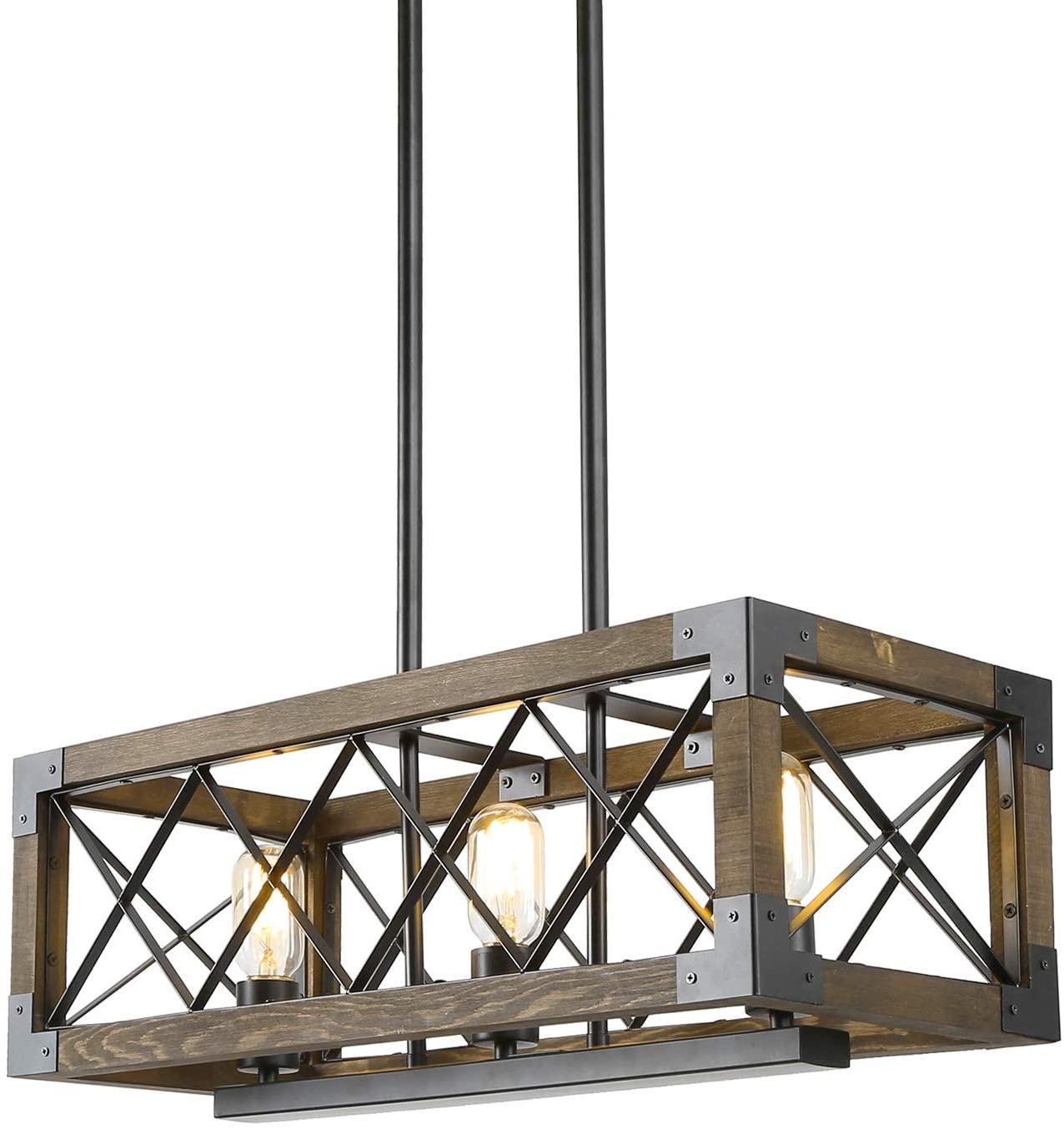 "LALUZ Dining Room Lighting Fixtures Hanging,3-Lights Open-Caged Farmhouse Chandelier,Rectangular Farmhouse Light Fixture 23.6""L x 10''W x 10""H"