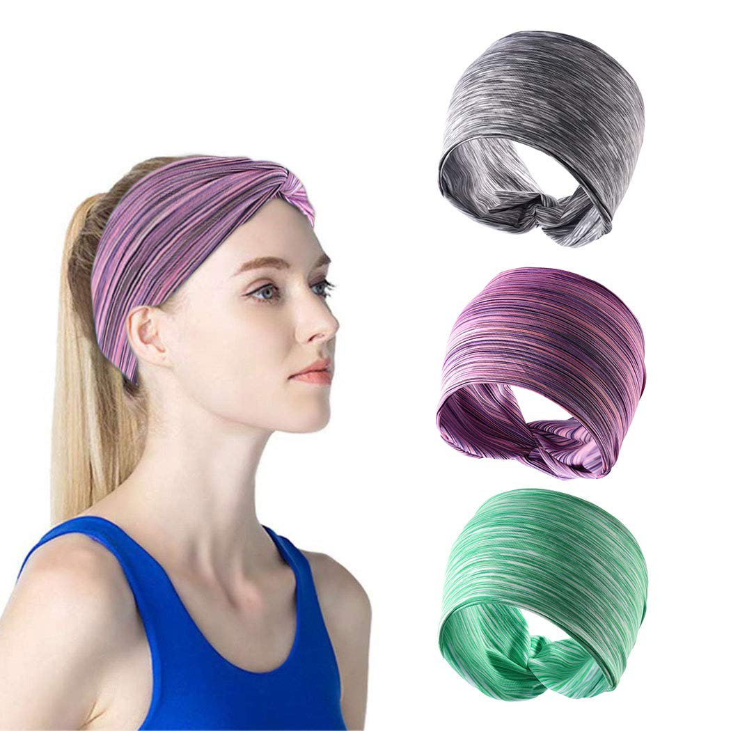 Casdre Yoga Wide Elastic Headbands Grey Running Criss Cross Hair Wraps Knotted Workout Sport Hair Bands for Women and Girls(Pack of 3)
