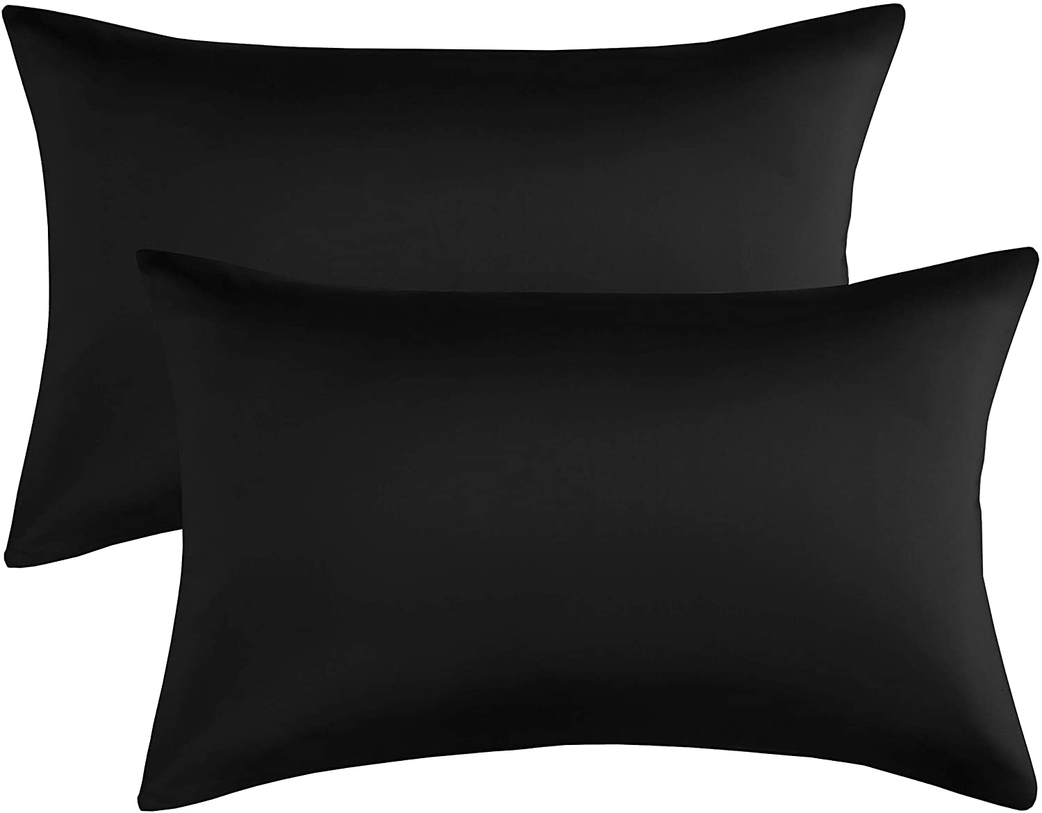 Qeeruim Home Satin Pillowcase for Hair and Skin, 2-Pack - Queen Size (20x30 inches) Silk Pillow Cases - Satin Pillow Covers with Envelope Closure, Black
