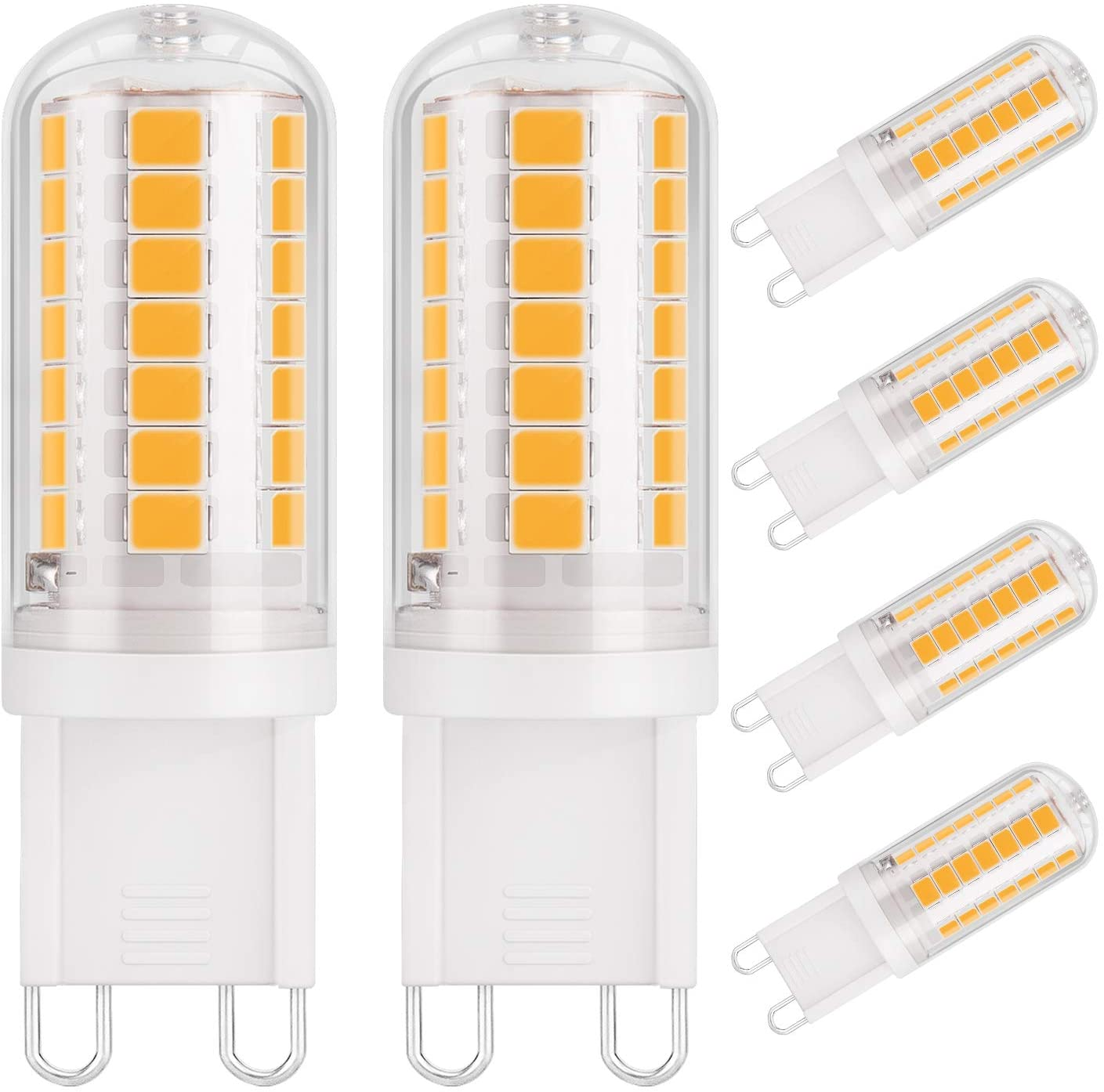 DiCUNO G9 120V LED Bulb 4W (40W Halogen Equivalent), Ceramic Base Light Bulb 430LM, Warm White 3000K, Non-Dimmable Replacement for Under Counter Cabinet, Ceiling Fan, Home Lighting, 6-Pack