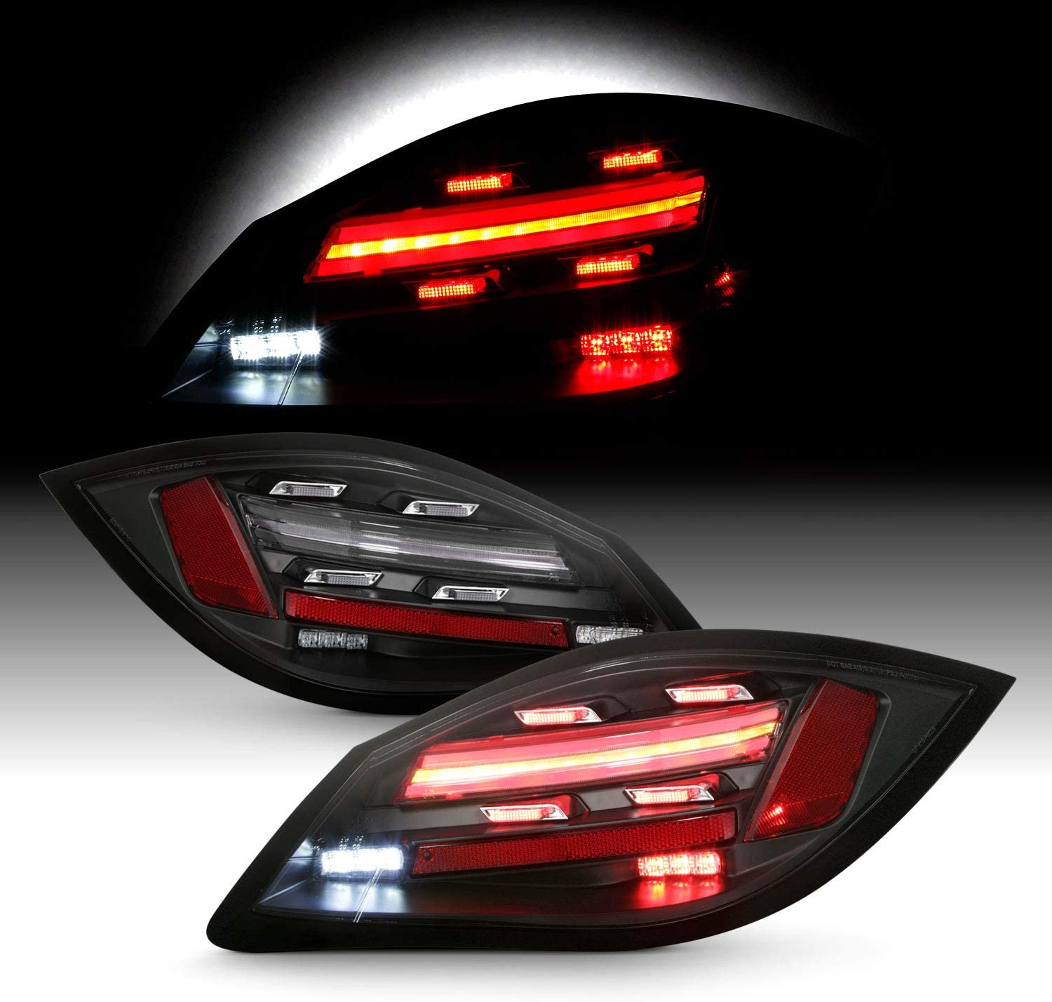 Fits 2009 2010 2011 2012 Boxster/Cayman [2nd Gen] 718 Style LED Sequentail Signal Black Tail Brake Lights