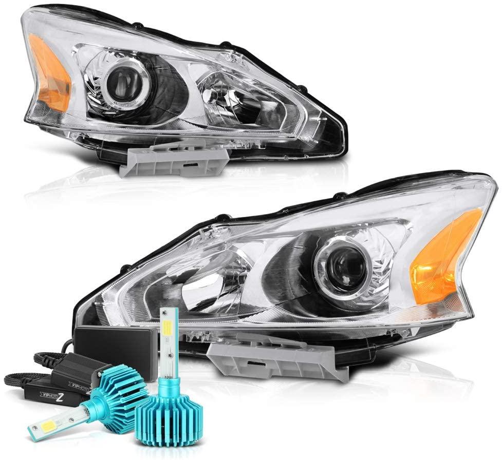 VIPMOTOZ Chrome Housing OE-Style Projector Headlight Headlamp Assembly For 2013-2015 Nissan Altima Sedan Halogen Model - Built-In Rainbow RGB LED Low Beam, Driver & Passenger Side
