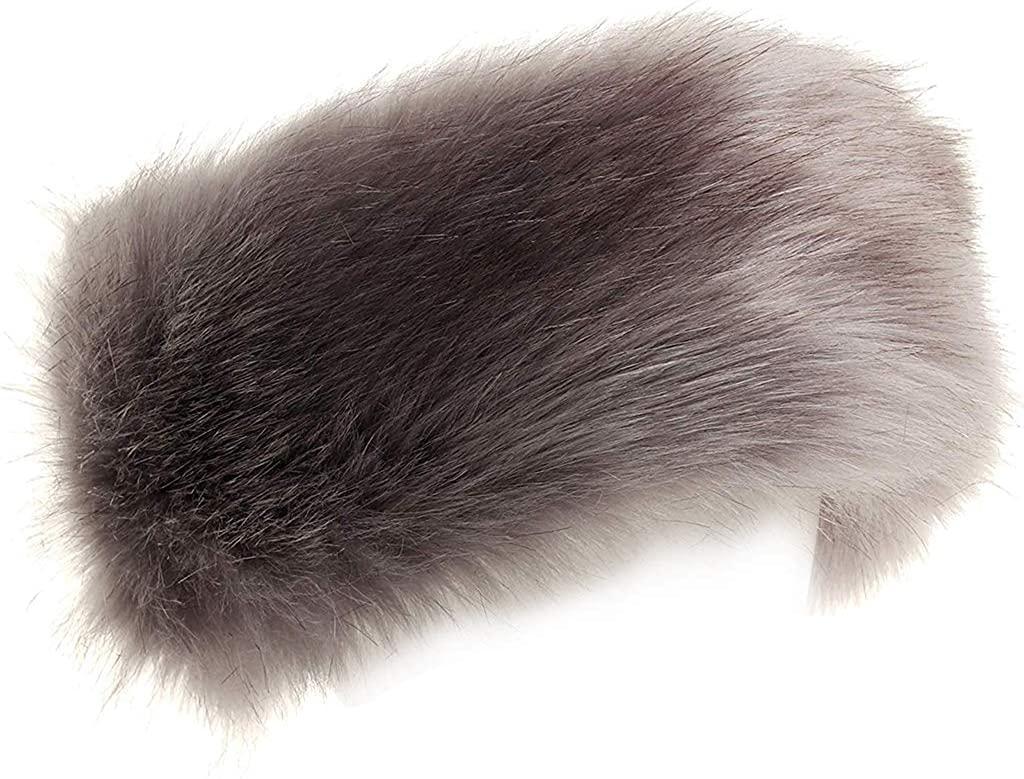 FHQHTH Faux Fur Headband with Elastic Fluffy Fur Hat Winter Ear Warmer Women Earmuff Ski Cold Weather Caps