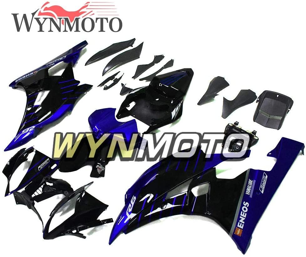 WYNMOTO Motorcycle Complete Fairings For Yamaha YZF-600 R6 2006 2007 R6 06 07 ABS Plastic Injection Bodywork - Glossy Black Blue